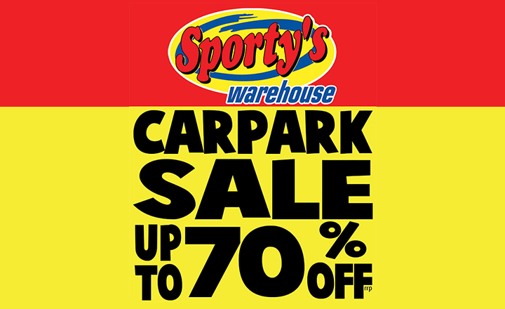 Carpark Sale at Sporty's Warehouse
