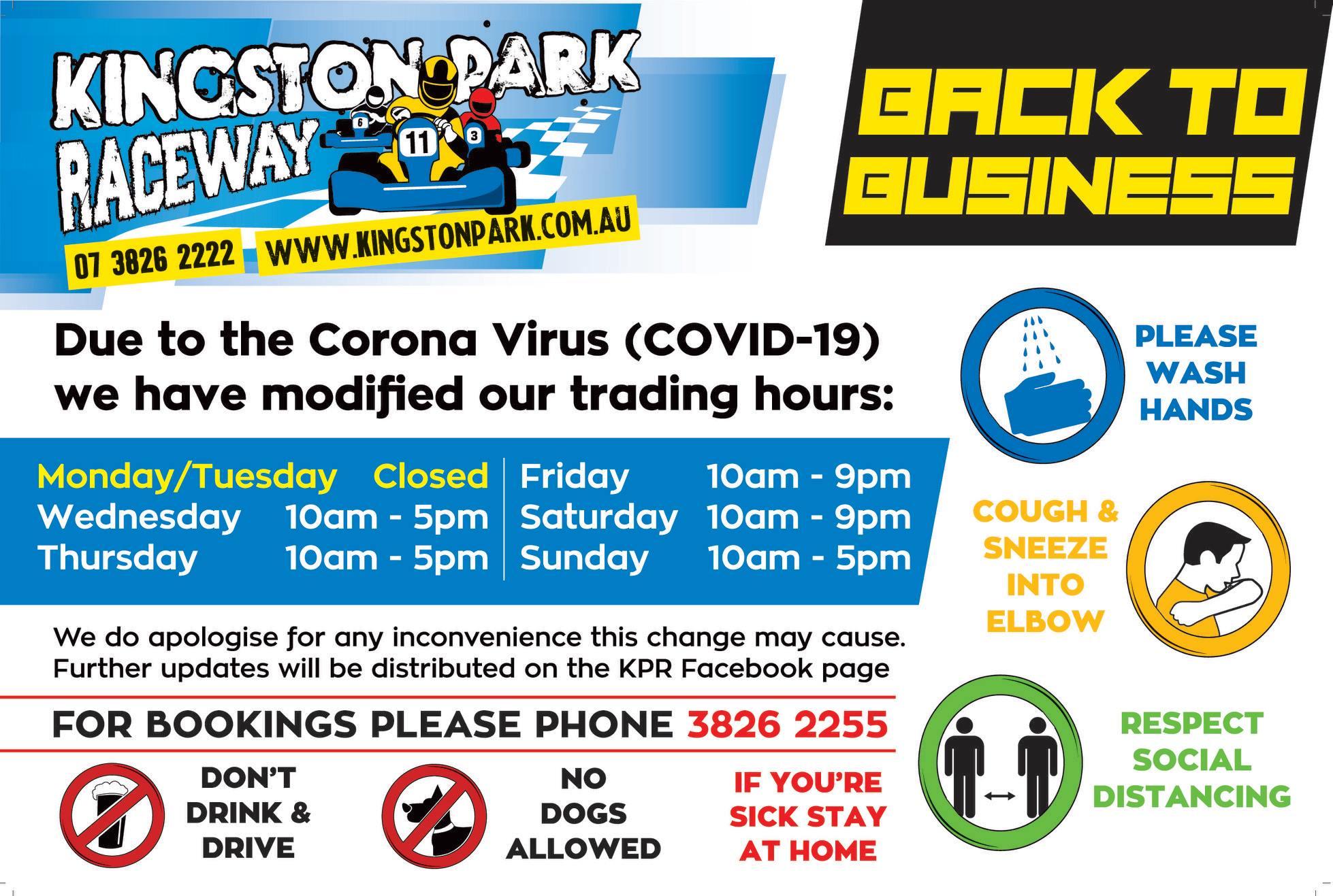 Kingston Park Raceway Trading Hours