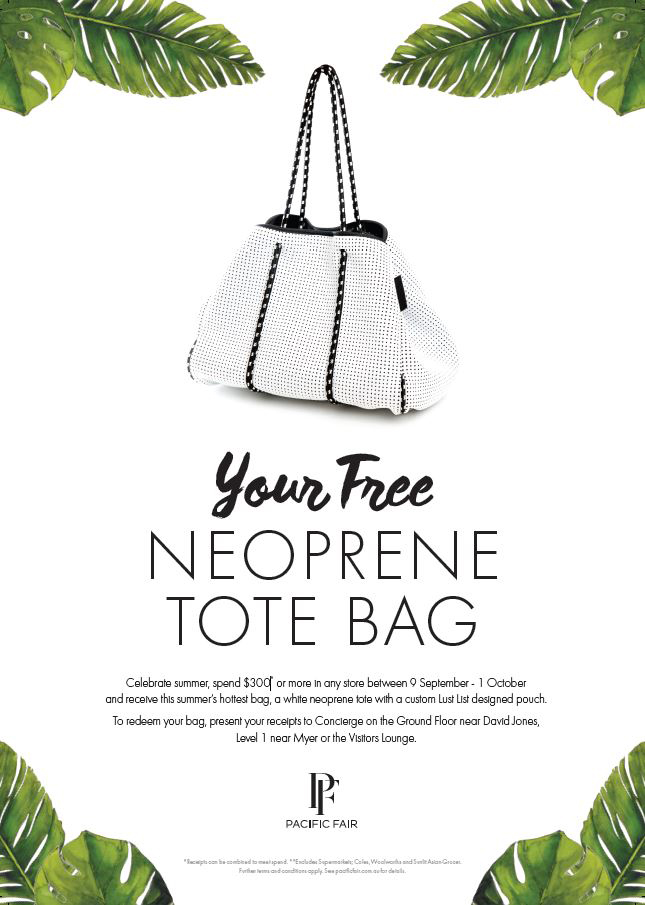 Free Neoprene Tote Bag at Summer Party Pacific Fair