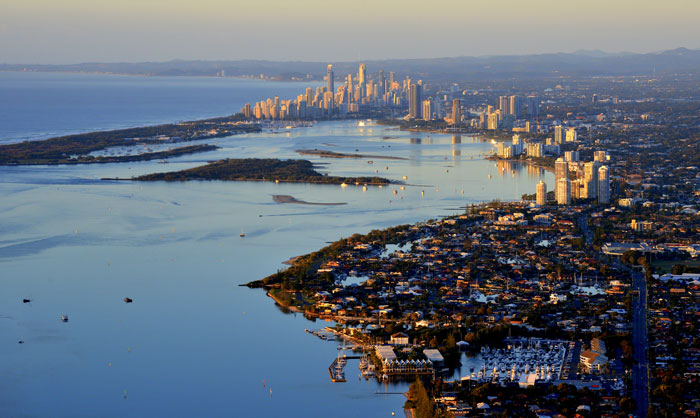 View of the Gold Coast from Go Ballooning air balloon