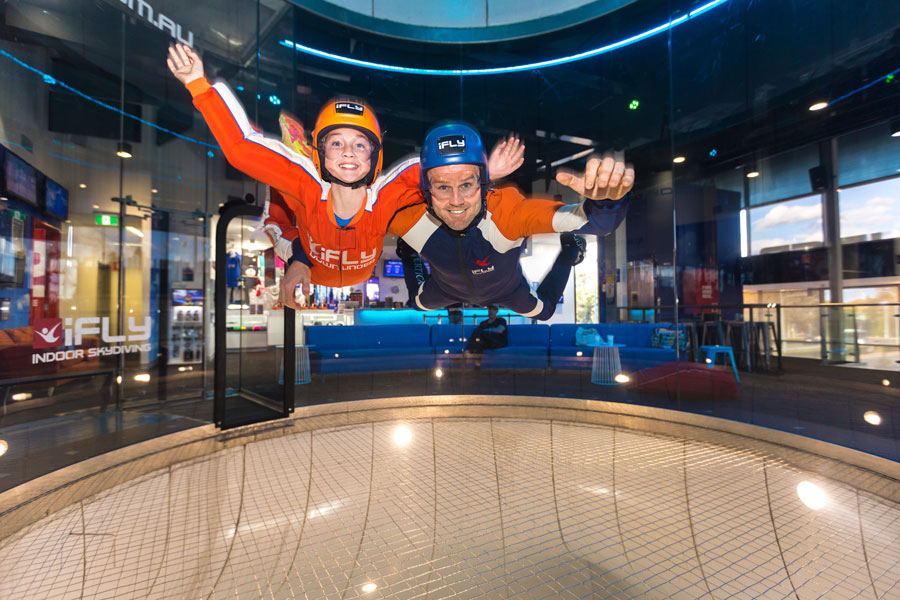 Image from inside iFLY indoor skydiving