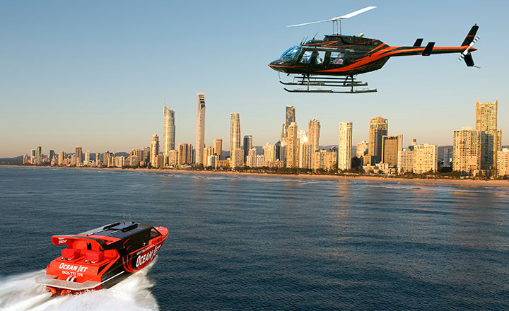 View of Ocean Jetboating and Surfers Paradise